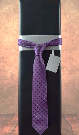 WRAPfinery - Mens Black with Purple Tie
