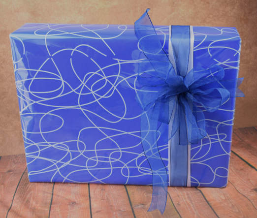 WRAPfinery - Mens Blue with Swirl Cellophane
