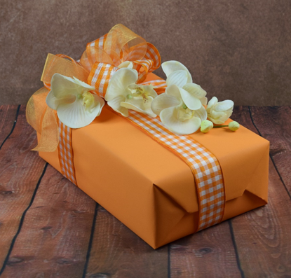 WRAPfinery - Womens Orange Gingham with Flowers