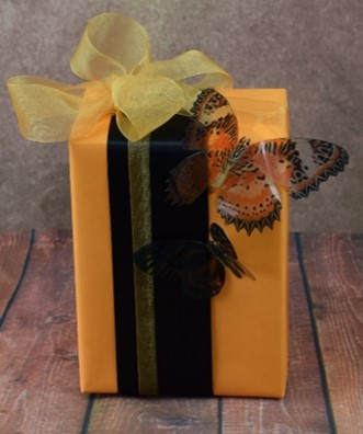 WRAPfinery - Womens Orange and Black with Butterfly